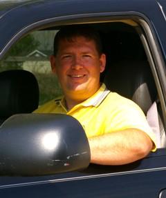 Chris in work truck